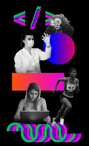 poster de mujeres programando, investigando, corriendo