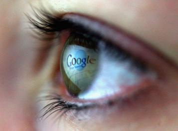 eye with google in the puple